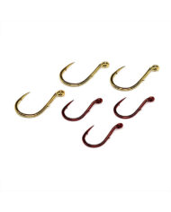 Single Egg Hooks, Barb On Shank – Red and Gold Group