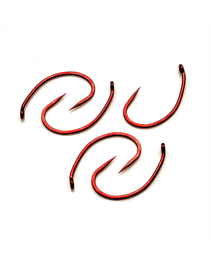C12-B Down Eye Scud Barbless, Red Fly Hook - Group