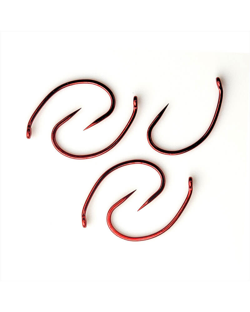 C12-B Down Eye Scud Barbless, Red Fly Hook - Main