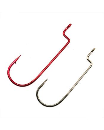Worm Hooks, Offset Shank, Round Bend - Red and Bronze