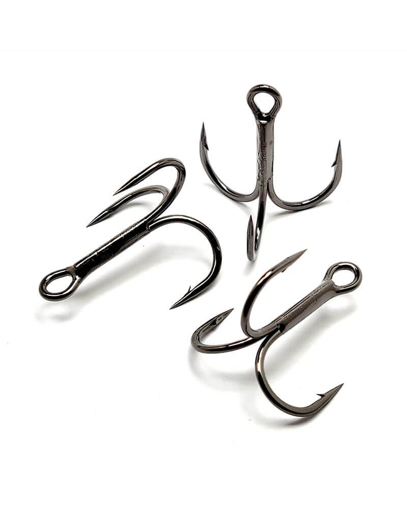 Treble Hooks, 2x Strong, Round Bend - Black group