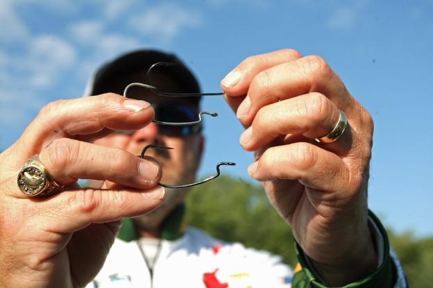 angler choosing hooks